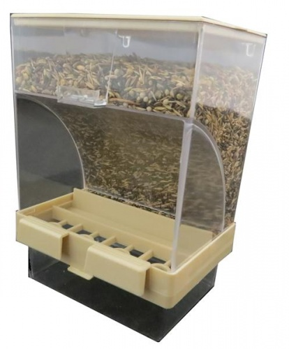 Beige Gravity Seed Hopper With Tray Garden Feathers Bird